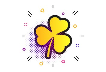 Clover with three leaves sign icon. Halftone dots pattern. Trifoliate clover. Saint Patrick trefoil symbol. Classic flat clover icon. Vector