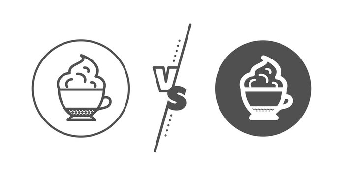 Hot drink sign. Versus concept. Cappuccino coffee with Whipped cream icon. Beverage symbol. Line vs classic cappuccino cream icon. Vector