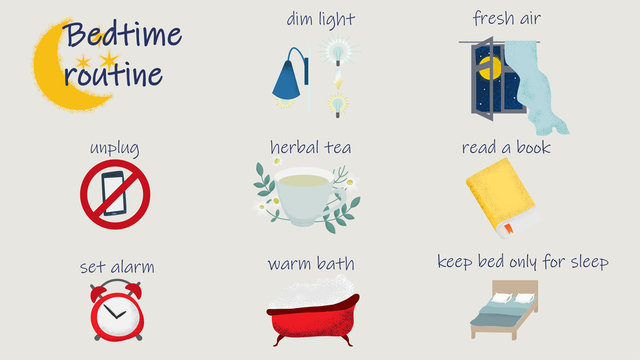 Bedtime routine for better sleep. Vector illustration of tips to improve night rest and health.