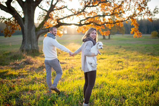 Young loving couple walking and hugging in autumn field at sunset