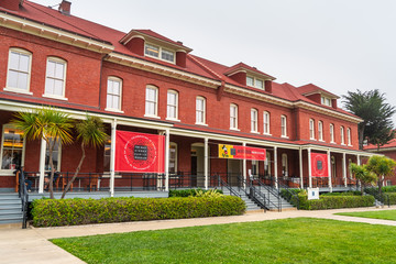 August 10, 2019 San Francisco / CA / USA - The Walt Disney family museum, operated and funded by the Walt Disney Family Foundation in Presidio Park; Mickey Mouse temporary exhibition advertised
