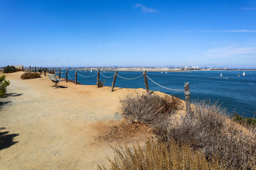 The Bayside Trail at Cabrillo National Monument in Point Loma, California which offers scenic views of San Diego Bay.