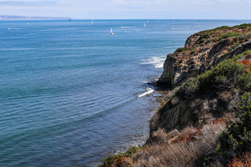 The mouth of San Diego Bay and the cliff below Cabrillo National Monument.