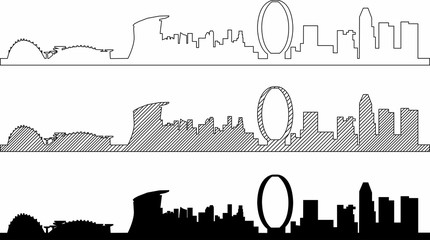 Fototapete - Simplicity outline Singapore business district skyline on white background. Vector illustration.