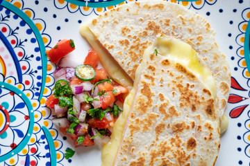 Mexican quesadillas with sliced ham also called