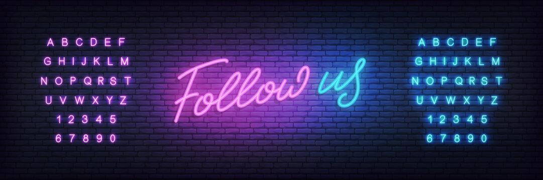 Follow us neon. Lettering design for social media post, marketing or advertisement.