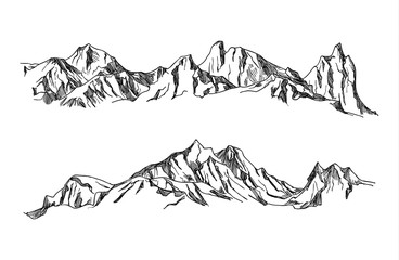 Vector Hand drawn illustration mountains