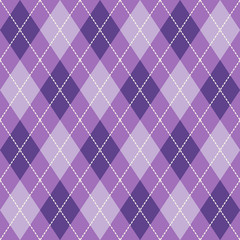 Purple  and  White Seamless Argyle Pattern Vector Background