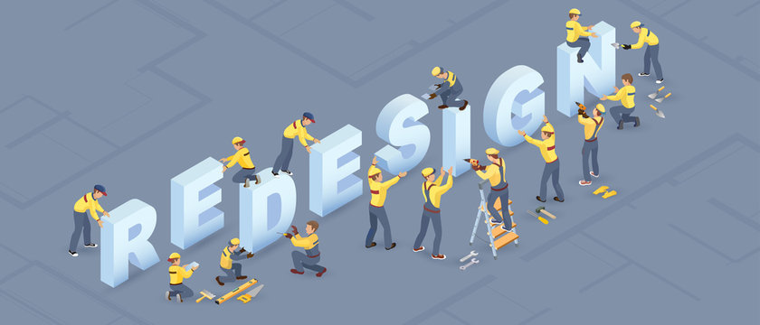 Isometric redesign services concept. Builders installed letters. Isolated Vector illustration.