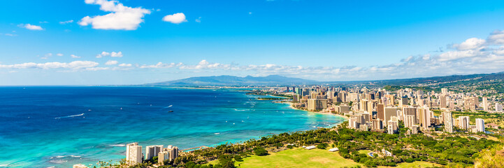 Foto auf AluDibond Panoramafotos Hawaii panoramic banner view of Honolulu Waikiki beach USA summer travel vacation. Famous american honeymoon destination.