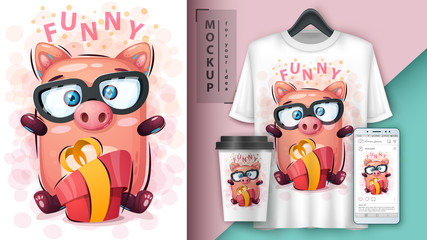 Pig with gift - mockup for your idea