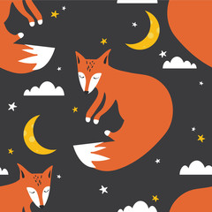Deurstickers Bestsellers Kids Colorful seamless pattern with foxes, moon, stars. Decorative cute wallpaper, good for printing. Overlapping colored background vector. Design illustration with animals, night sky