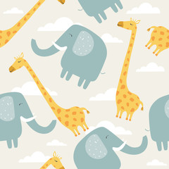 Happy elephants, giraffes, hand drawn backdrop. Colorful seamless pattern with animals, sky. Decorative cute wallpaper, good for printing. Overlapping background vector