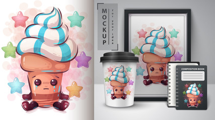 Cute ice cream poster and merchandising