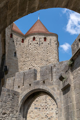 interior castle Carcassonne fortified town in france