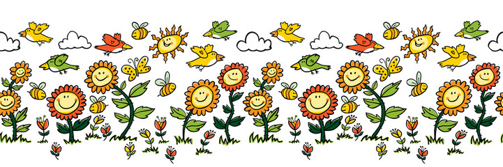 Vector colorful cartoon sunflowers, birds and bees horizontal border. Suitable for wall murals, gift warp, textile and wallpaper.