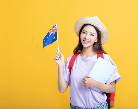 Young asian girl  student showing the australia flag