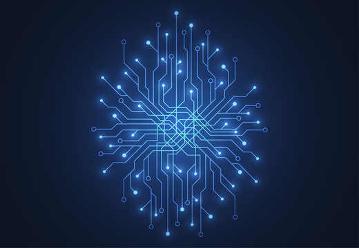 Abstract background with technology brain circuit board texture. Electronic motherboard illustration. Communication and engineering concept. Vector illustration