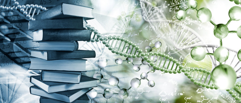 Stack of books depicted on DNA background closeup