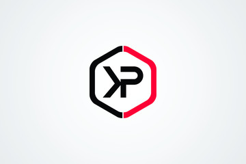 Initial based clean and minimal Logo. KP PK K P letter creative monochrome monogram icon symbol. Universal elegant luxury alphabet vector design
