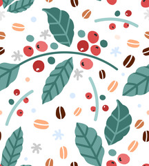Simple hand drawn vector illustration of coffee plant branches with leaves and berries, Trendy scandinavian naive handdrawn sketch style. Good for print warraping paper or fabric textile.