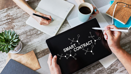 Smart contract blockchain based technology concept on screen. Cryptocurrency, Bitcoin and ethereum.