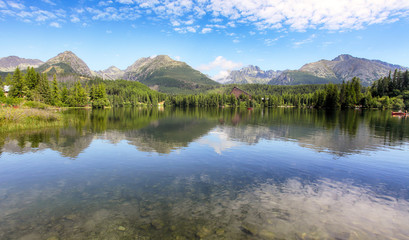 Reflection of mountain lake - Strbske pleso, Slovakia landscape