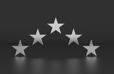 Rating review icon on isolated white background, 5 Star rating symbol, 3d illustration