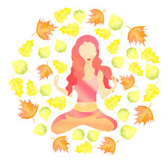 woman sitting in lotus pose with autumn leaves flying around