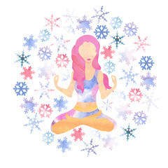 illustartion of woman with pink hair meditating in cold season