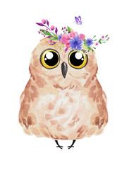 Cute owl in floral wreath. Watercolor owl set
