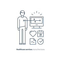 Fototapeta Heart test line icon, electrocardiogram monitor logo, cardiology examination