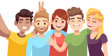 People group selfie. Guy takes group photo with smiling friends on smartphone in hands vector cartoon friendly characters