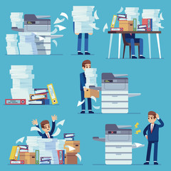 Office documents copier. Printer printing office papers, man with broken photocopier. Lot of paperwork and bureaucracy flat vector set