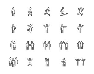 Obraz People flat line icons set. Person walking, running, jumping, climbing stairs, happy man, company leader, friends hugs vector illustrations. Human outline signs. Pixel perfect 64x64. Editable Strokes - fototapety do salonu