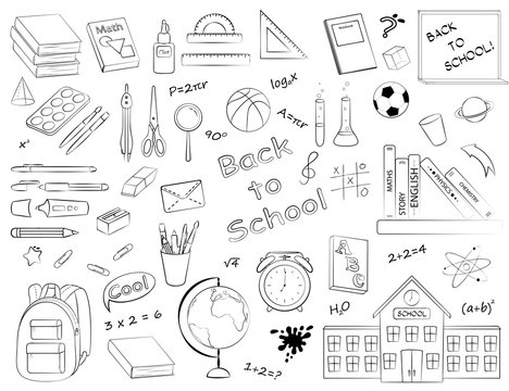 Vector set of monochrome school supplies and stationery