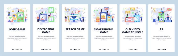 Mobile app onboarding screens. Different types of games. Video, console, logic, educational games. Vector banner template for website and mobile development. Web site design flat illustration