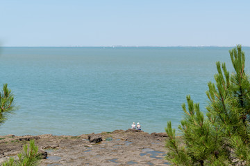 large view beach atlantic ocean on isle of Aix in Charente France