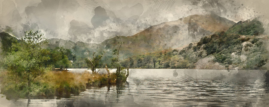 Digital watercolor painting of Panorama landscape stunning sunrise over lake with mountain range in background