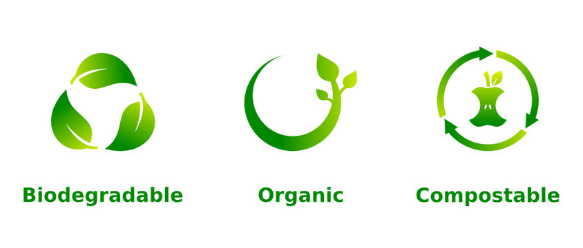 Biodegradable, organic, compostable icon set. Three green gradient eco friendly signs on white background. Ecological, organic farming, healthy lifestyle, concept. Vector illustration, flat,clip art.