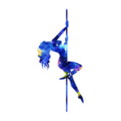 Fototapeta colorfull silhouette of girl and pole on a white background. Pole dance illustration for striptease dancers, exotic. Clipart with texture watercolor space for design. Sexy women obraz