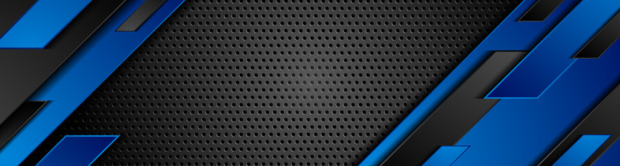 Photo sur cadre textile Metal Trendy composition of blue technical shapes on black background. Dark metallic perforated texture design. Technology illustration. Vector header banner