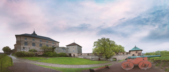 Panorama of the Courtyard of an ancient castle Akershus Fortress in Oslo Norway in spring evening at sunset Fototapete