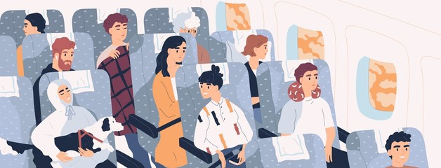 Passengers inside airliner. Funny people sitting on seats in modern aircraft cabin. Cute men and women aboard plane. Airplane trip, travel, journey. Flat cartoon colorful vector illustration.