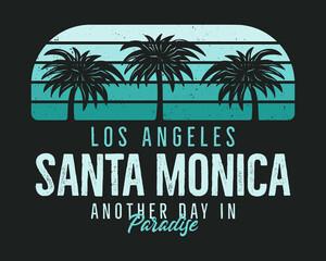 Santa Monica Beach Graphic for T-Shirt, prints. Vintage Los Angeles hand drawn 90s style emblem. Retro summer travel paradise scene, unusual badge. Surfing Adventure Label. Stock vector.