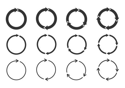 Set of circle arrows rotating on white background. Refresh, reload, recycle, loop rotation sign collection. Black circle arrows for infographics, web design. Vector illustration, flat style, clip art.