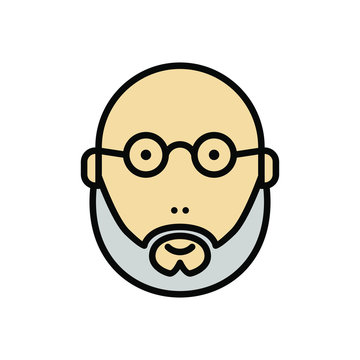 balded and bearded man using glasses