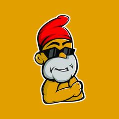 dwarf mascot logo. dwarves wear glasses and red skullcaps