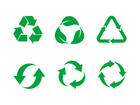 Recycle symbol vector set. Green recycle sign set on white background. Collection of 6 different recycling icons. Reuse, renew, recycling materials, concept. Vector illustration, flat style, clip art.