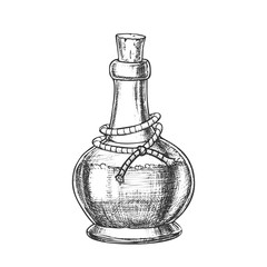 Poison Bottle With Cork Cap Monochrome Vector. Glass Bottle With Planted Yarn And Toxic Mixture. Poisonous Liquid In Flask Template Hand Drawn In Vintage Style Black And White Illustration